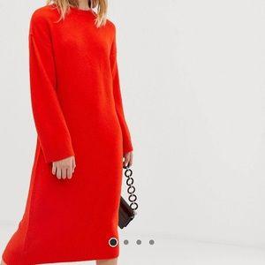 Midi Sweater Dress in Fluffy Yarn